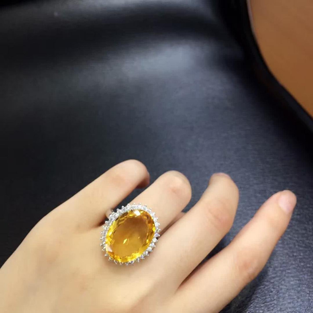 2017 Jewelry Qi Xuan_Fashion Jewelry_Yellow Stone Fashion Rings_S925 Solid Silver Woman Yellow Rings_Factory Directly Sales
