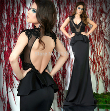 Seductive Black Evening Dresses Mermaid Trumpet V Neck Applique Floor Length Sheer-illusion Women Gown yk1A159