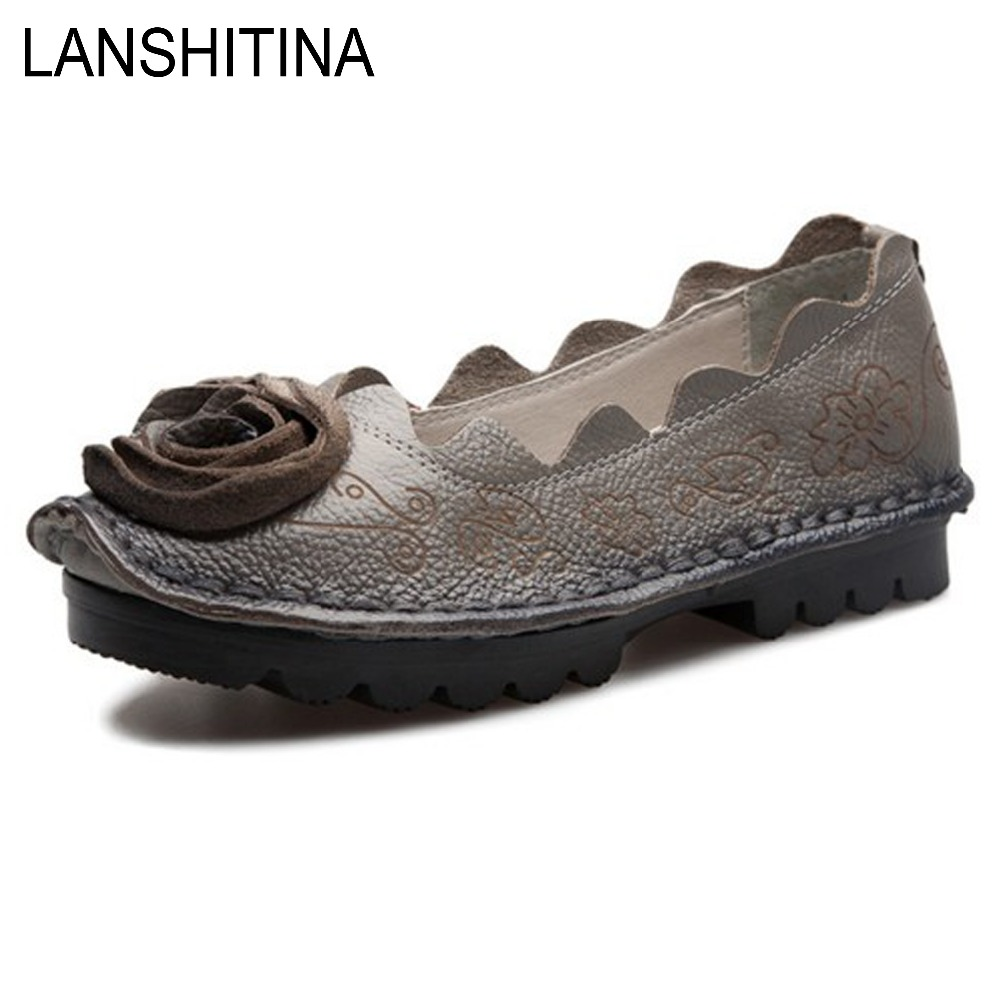 Mother Shoes Woman Genuine Leather Flats Casual Slip-on Round Toe 2017 New Women Loafers Ladies Comfortable Soft Moccasins  wolf who 2017 summer loafers cut out women genuine leather shoes slip on shoes for woman round toe nurse casual loafer moccasins