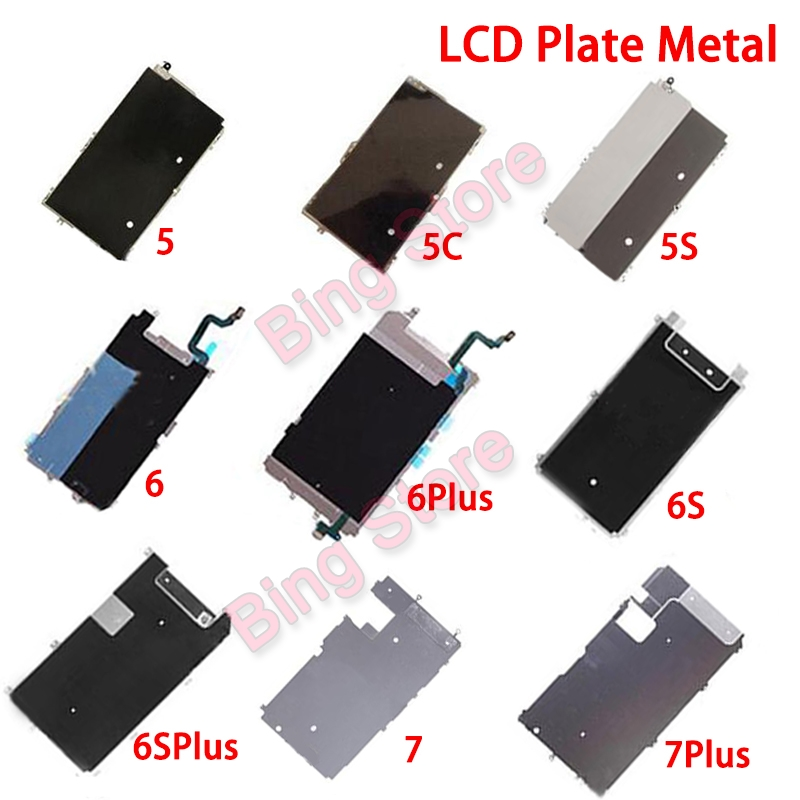 Metal Backplate Shield For iPhone 5 5C 5S 6 6S Plus 7 Plus LCD Metal Heat Plate with Home Button Extend Flex Cable Back Plate image