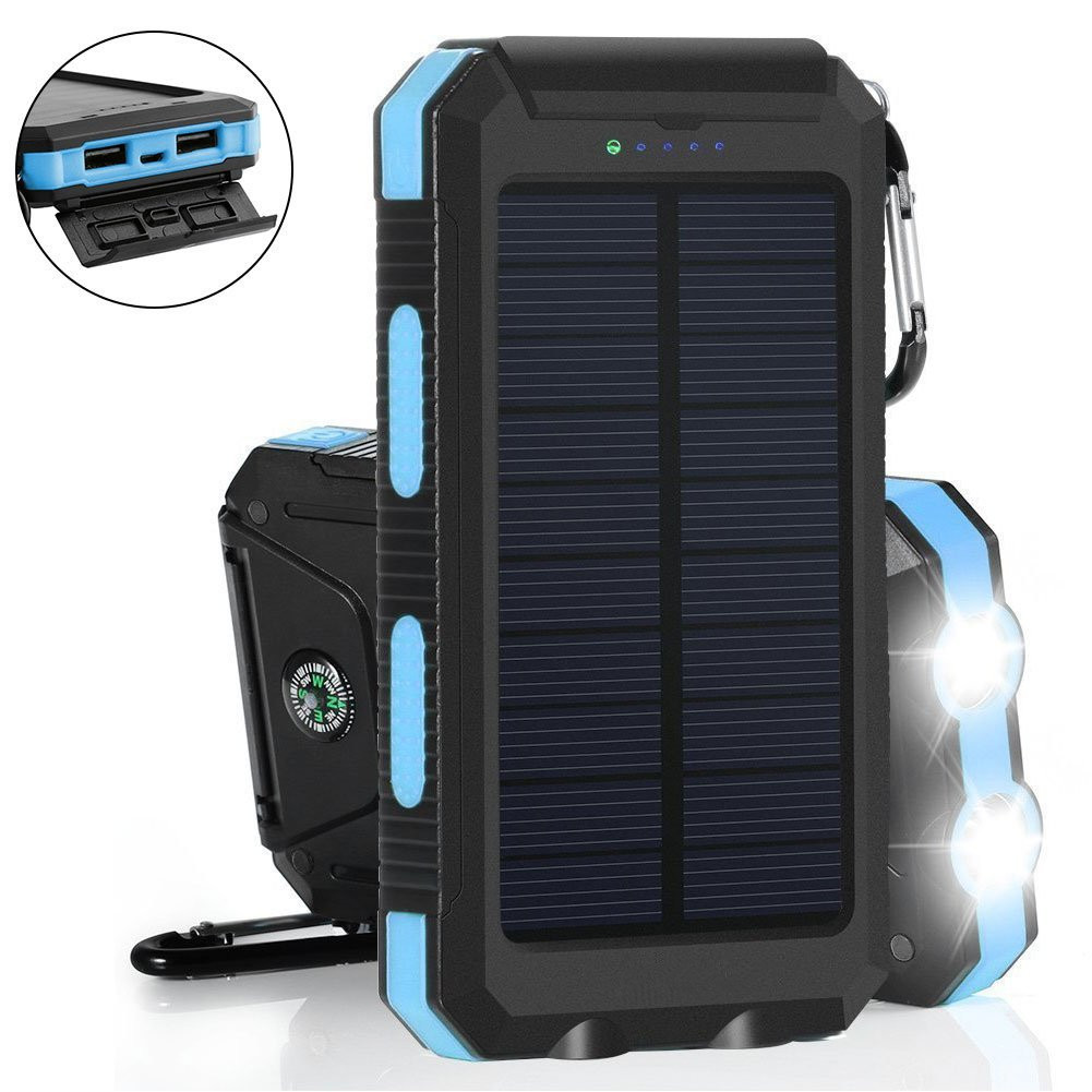 Wasserdichte Solar Power Bank 20000 mah Dual USB Externe Polymer Ladegerät Im Freien Licht Lampe Power