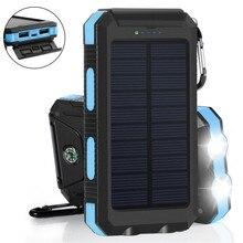 20000 mAh Waterproof Solar Power Bank Dual USB External Battery Charger