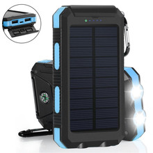 Waterproof Solar Power Bank 20000 mAh Dual USB External Polymer Battery Charger Outdoor Light Lamp Powerbank