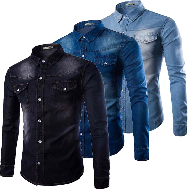 Pocket washed big size slim fit light blue male denim Black shirt blue jeans