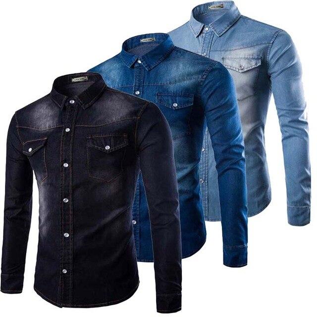 74f1b3f7fbcb Pocket Washed Big Size Slim Fit Light Blue Male Denim Shirt Men Black Jeans  Cowboy Shirts Men Plus Size 5XL
