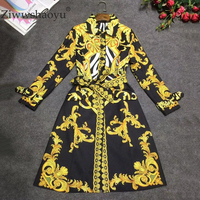 Ziwwshaoyu Autumn Designer Trench Women's High Quality Elegant Full Sleeve Luxury Gold Baroque Printed Tied Waist dress
