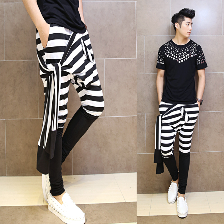 2015 Japanese New Man Fashion Casual Harem Pants Striped