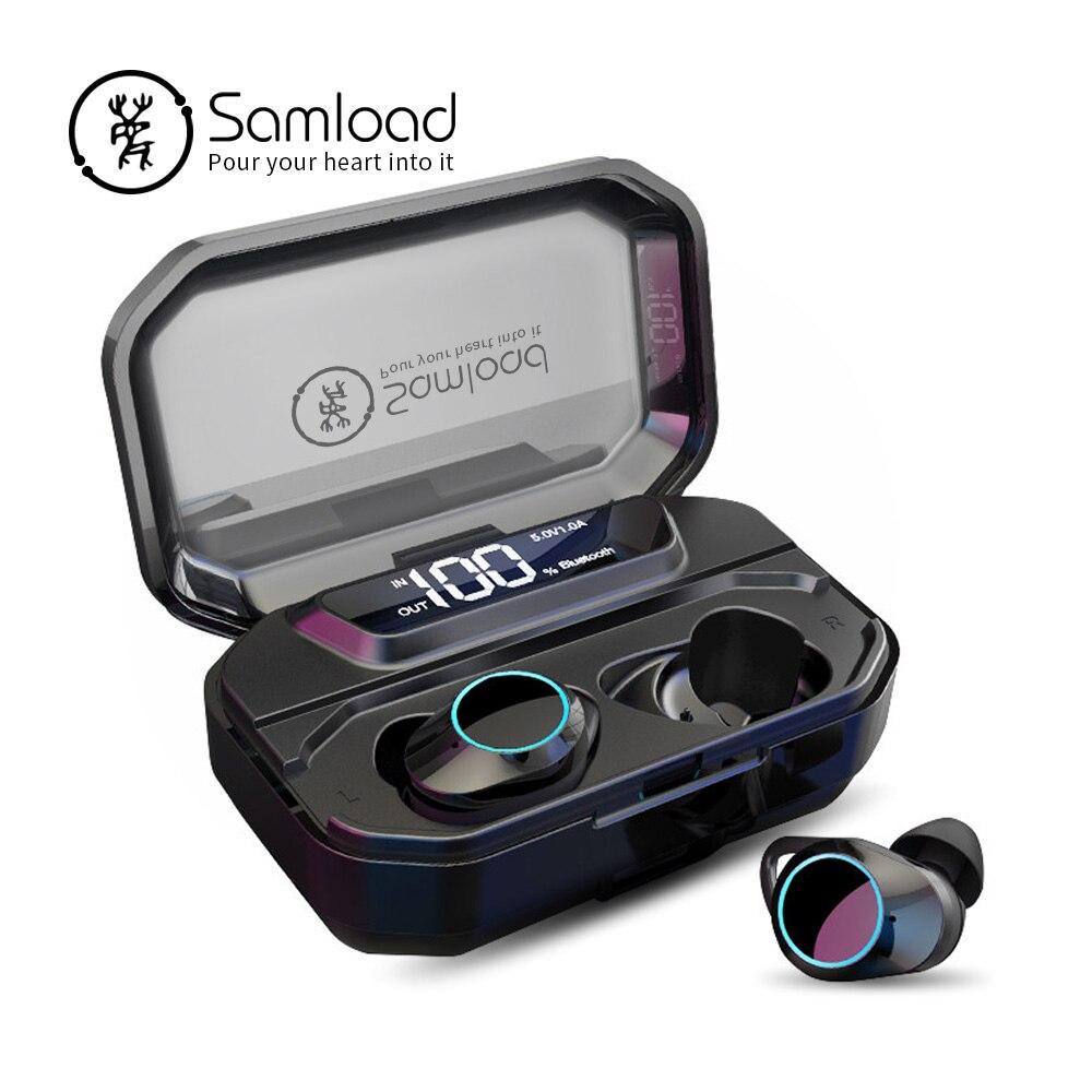 Samload Sans Fil Casque HIFI Bluetooth 5.0 Écouteurs Stéréo Écouteurs avec 3000 mAh Boîte de Charge Power bank Pour Smartphone