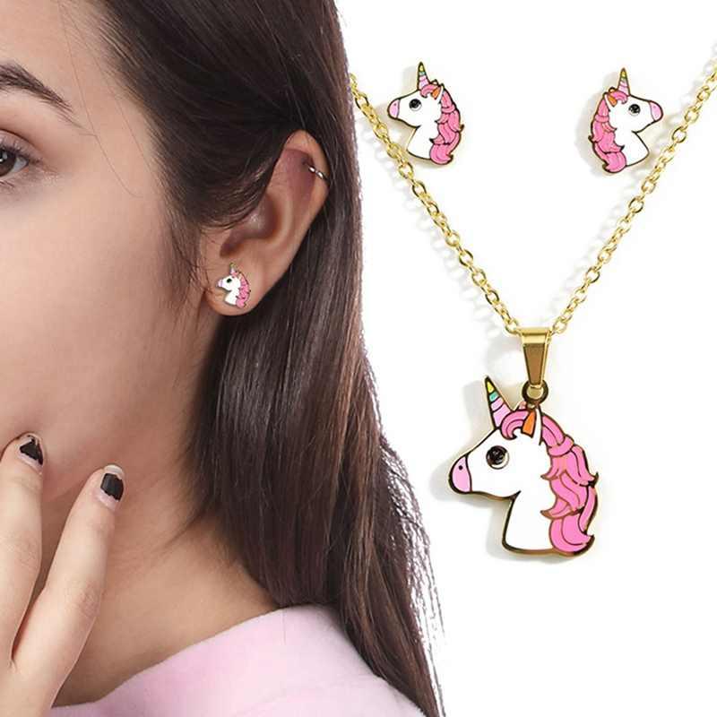 2019 การ์ตูนน่ารักสีชมพู Unicorn ออกแบบเคลือบสแตนเลสสตีลสีสร้อยคอต่างหูชุดเครื่องประดับเด็ก