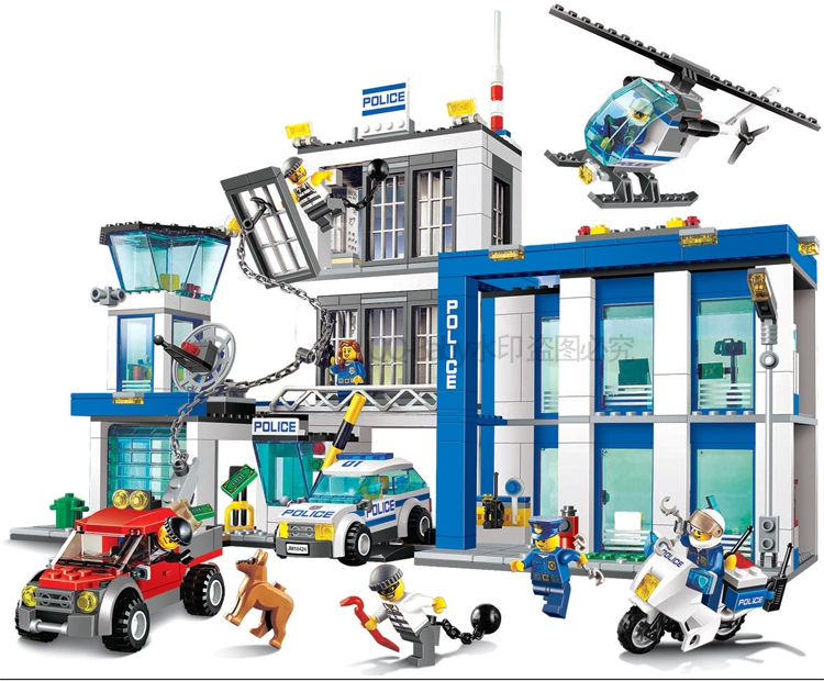 Pogo Lepin 890pcs Station Helicopter Jail Cell Urban Police City Compatible 60141 Building Blocks Bricks Toys Compatible Legoe bela 10424 890pcs city police station building blocks action figures set helicopter jail cell compatible