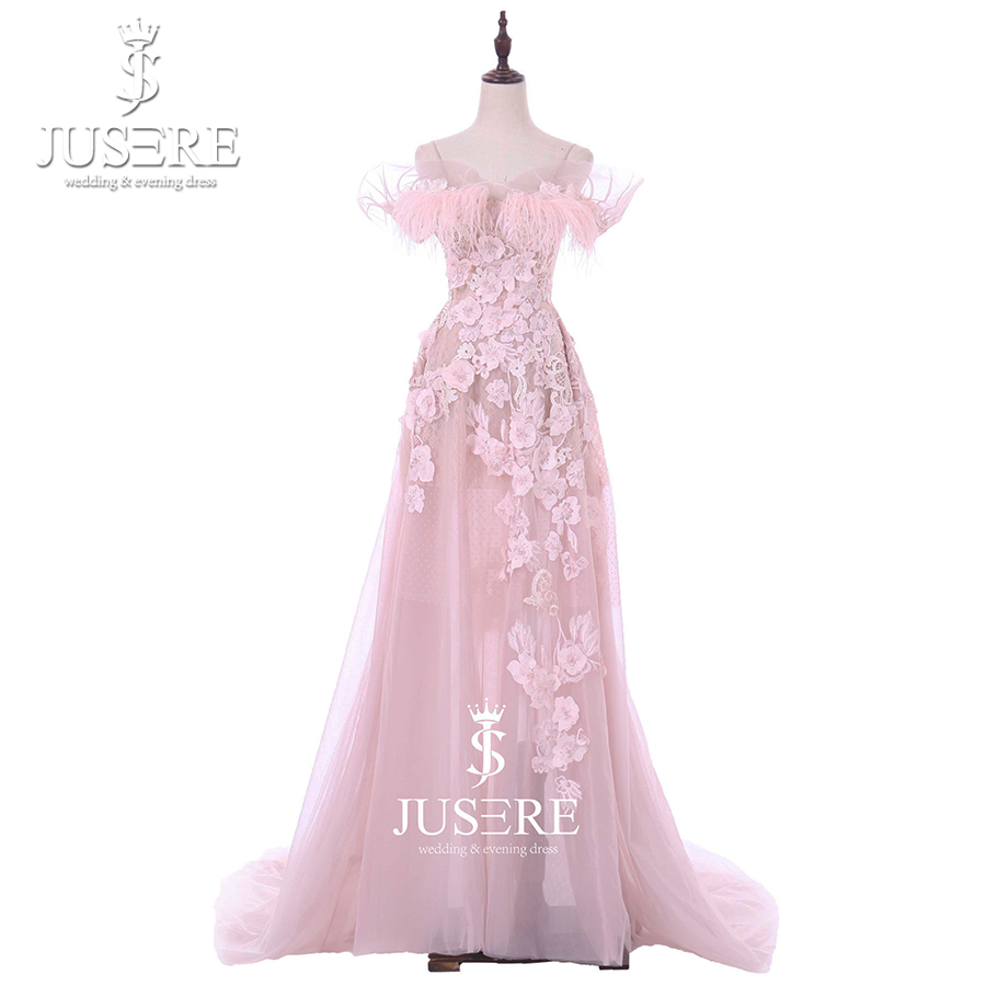 Straps Side Sleeves Semi A Line Appliques Flowers Feathers Pink Girl Fairy Cocktail Formal Women Elegant Prom Dress Gown 2018