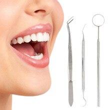 3pcs Medical Grade Stainless Steel Dental Examination Probe Set Hygiene Pick Scaler Mirror Tweezers Examination Cleaning