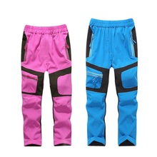 Summer Spring Patchwork Stretch Quick-Drying Boys Girls Pants Sporty Climbing Trousers Children Soft Shell Outfits For 110-160cm