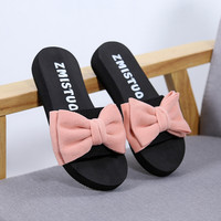 Women Bow Summer Sandals Slipper Indoor Outdoor Flip-flops Beach Shoes