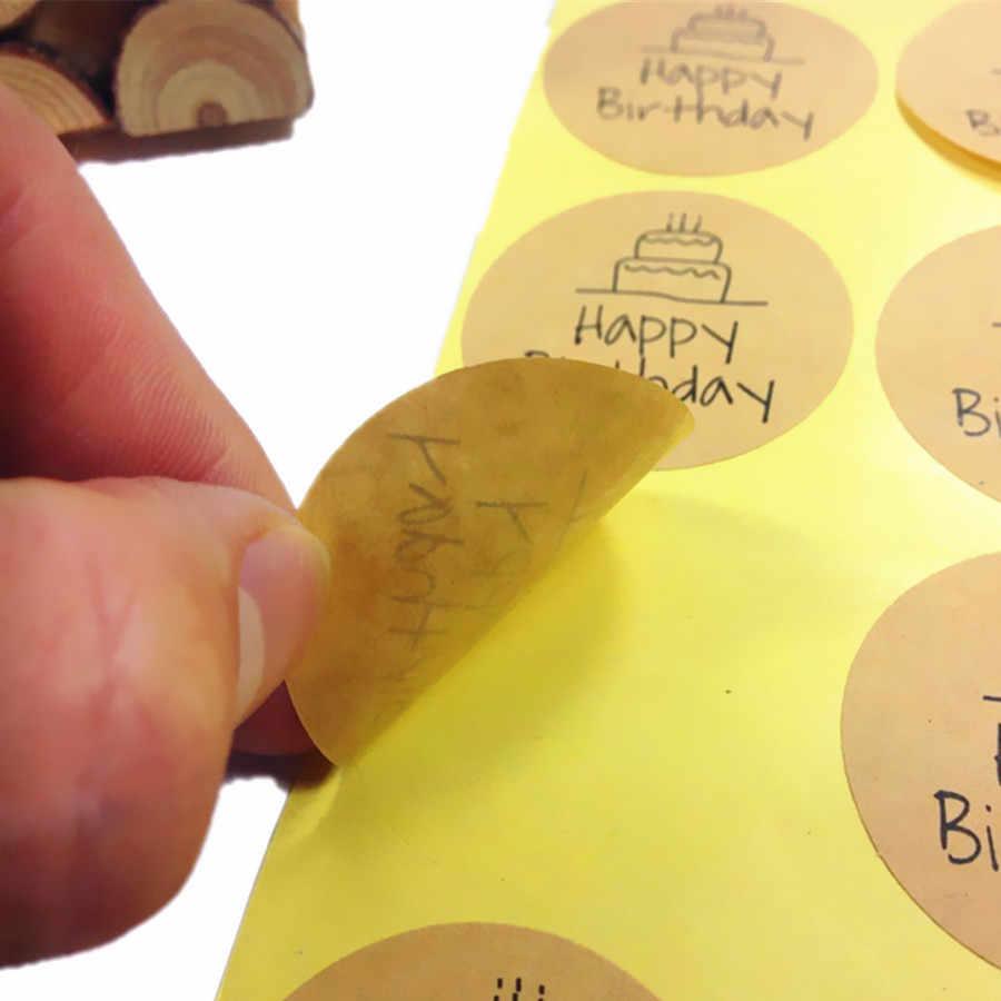 100 Pçs/lote Kawaii Estudantes DIY Feliz Aniversário papel Kraft Etiqueta Do Selo Do Círculo Para Embalagens de produtos Caseiros Padaria suprimentos