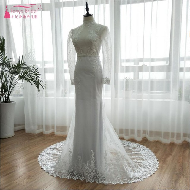 a6bf0f8794c8 White Point Long Sleeve wedding Dresses 2018 Muslim Late Summer Wear High  Bridal Gowns Elegant Lace Appliques Vestido De ZW043