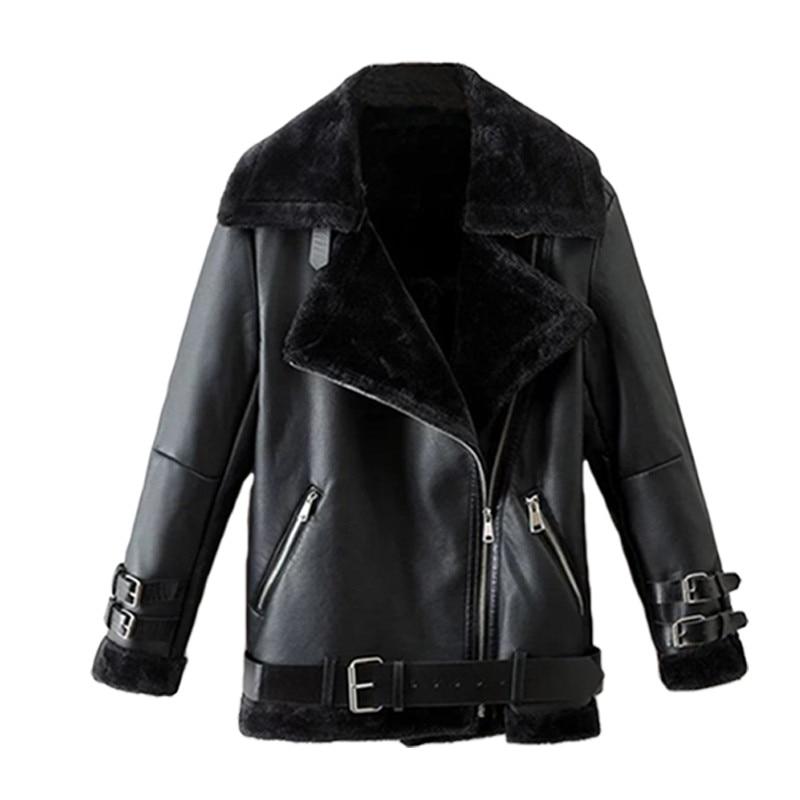 2018New winter Women Large size   Leather   jacket sheepskin Shearling Coat Lamb fur Bomber   leather   jacket coat black   leather   jacket