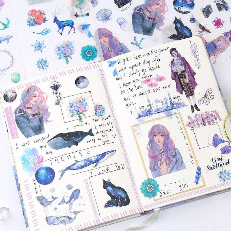 טרי אופנה סגנון אנימה ילדה מדבקת על מחשב נייד סקייטבורד ספר יומן רעיונות Ablum עמיד למים מדבקות צעצועים לילדים