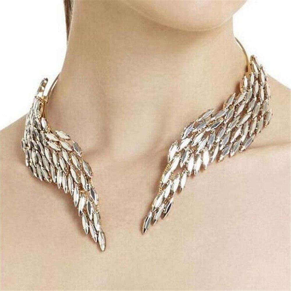 Nouveau charmant ange ailes de luxe cristal collier de mode femmes Chokers colliers fête Banquet mariage accessoires en gros