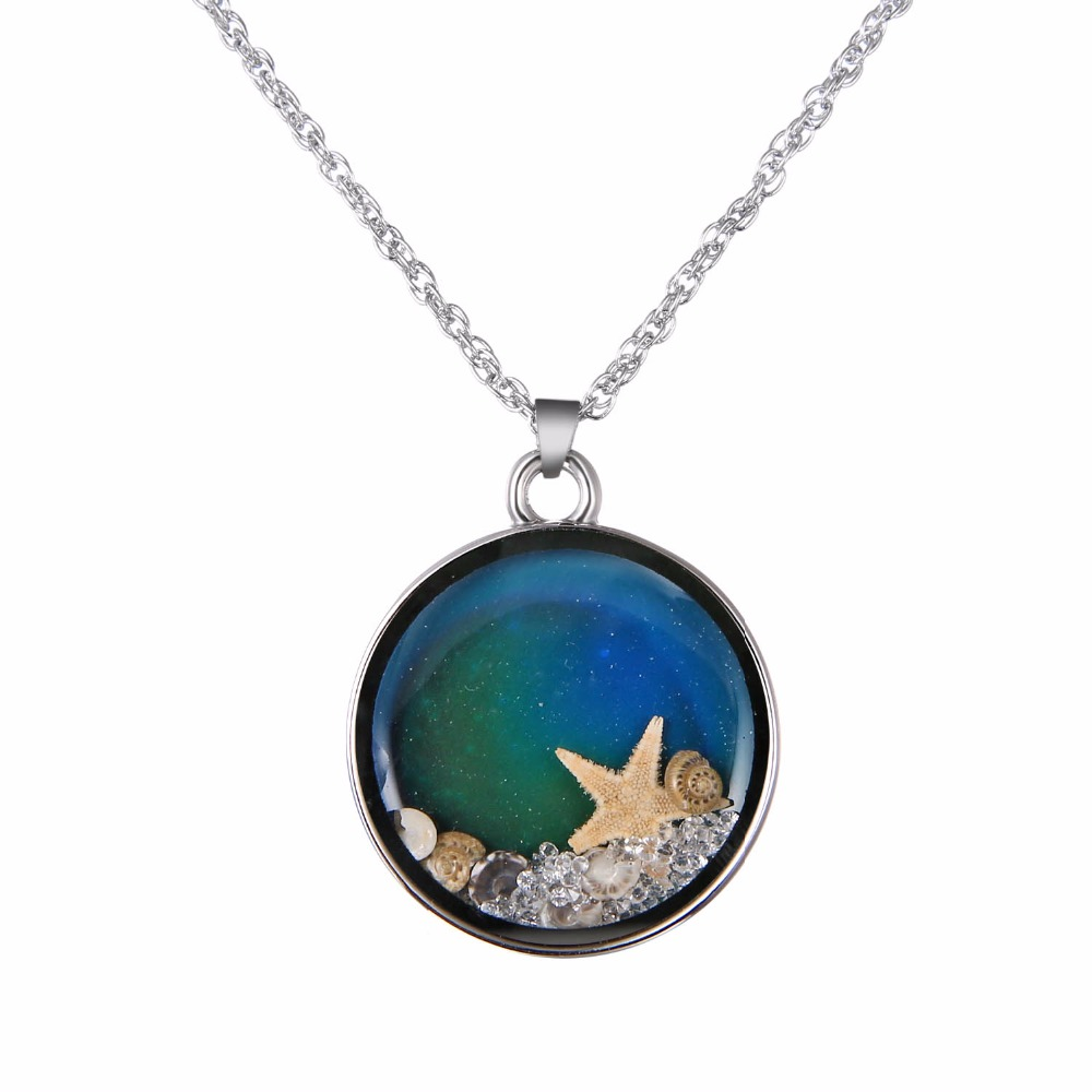 geekoplanet.com - Sea Star Mood Tracking Locket Pendant Necklace
