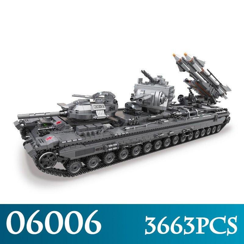Creativo MOC Serie Militare 06006 3663 pz Il KV-2 Serbatoio Blocchi di Costruzione di Modello Compatibile LegoINGLYs Mattoni Giocattoli Per Il Ragazzo