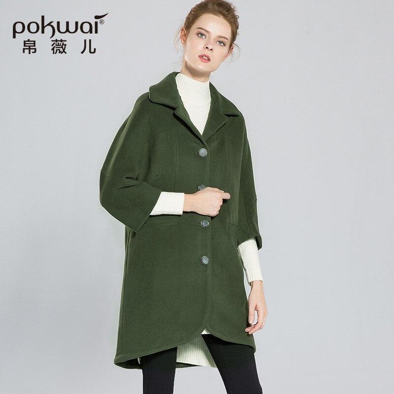 Manteaux Pokwai Pardessus 2017 D'hiver Laine Taille Parka Green Marque Large Long Vert De Luxe Dames Élégantes Femmes Poches À Manteau 88xdrqawz