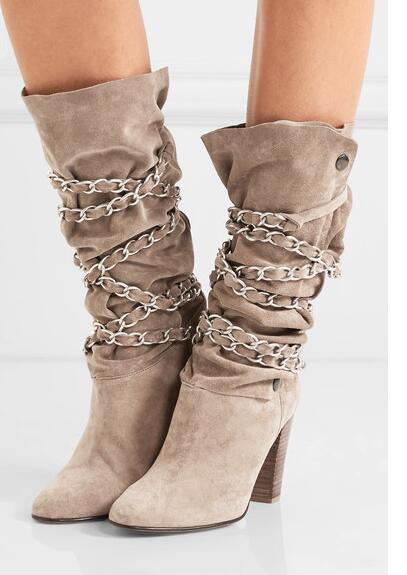f39607dcd7f7 Chaussures Daim Haut Femmes Croix Boucle Hiver Picture Talon Strap En Star  Picture As D hiver Bout Automne as Cheville Décors Bottes ...