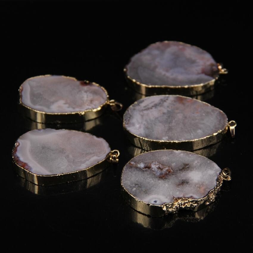 5pcs/lot,Red chalcedonys geode Slab Nugget Pendant,Raw Agates Freeform slice Gold Edges Pendant Necklaces Jewelry