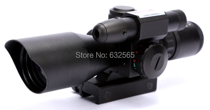 ФОТО Hot Sale Mini 2.5-10X40 Rifle Scope with Mil-Dot Reticle and side mounted green laser scope