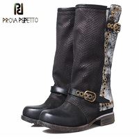 Prova Perfetto Fashion Retro Buckle Belt Rivet Martin Boots For Women Square Toe Thick Bottomed Patchwork