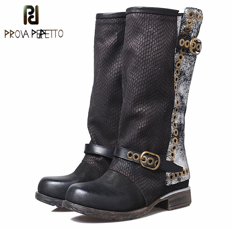 Prova Perfetto Fashion Retro Buckle Belt Rivet Martin Boots For Women Square Toe Thick Bottomed Patchwork Sheepskin Knight Boots stylish pin buckle rivet perforated wavy edge light coffee belt for women