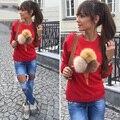 2016 Женщин Толстовки осень мульти-лента плюшевые может быть в дополнение к мяч с длинными рукавами О-воротник удобная Женская Sweatshi