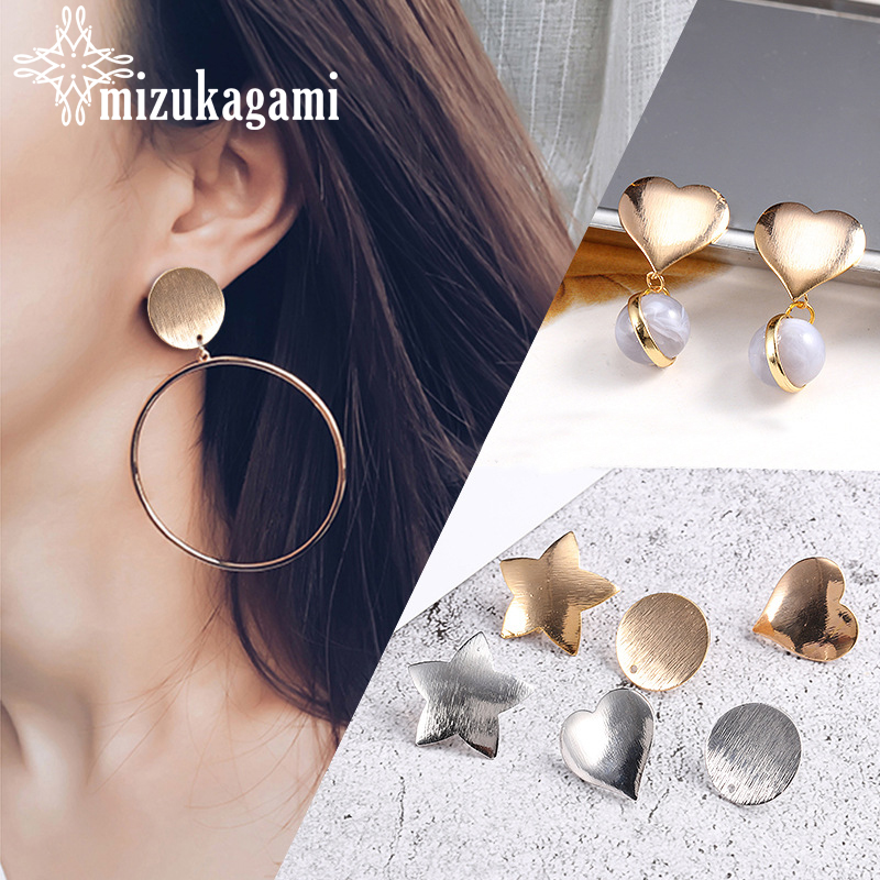2pcs/lot Copper Gold Silver Round Star Love Heart Base Earrings Connector For DIY Fashion Earrings Jewelry Finding Accessories