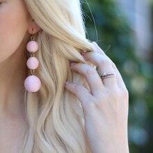 Statement Earrings Ball Pendant Pom Pom Long Drop Earrings for Women Fashion Party Earring Jewelry Wholesale