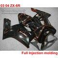 Injection molding ABS fairing kit for Kawasaki ZX-6R 03 04 all glossy black customize fairings Ninja 636 2003 2004 ZX6R UY10