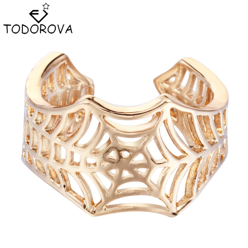 Todorova Resizable Spiderweb Ring Vintage Open Hollow out Spider Web Rings for Women Gift Steampunk Accessories