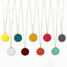 Tiney Enamel Disc Pendent Candy Colors Necklace Enamel Blank Disc Pendant for Women