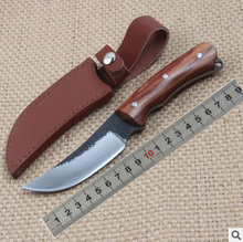 Handmade Fixed Blade Knives 58HRC Carbon Steel Wood Handle Military Straight Knife Outdoor Camping Hunting Survival