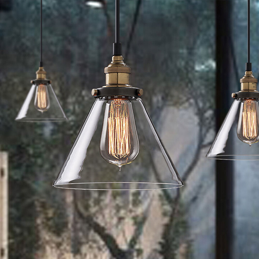 Vintage Loft Clear Glass Pendant Light For Kitchen Dining Room Table Ceiling Hanging Lamp Fixture Bar Lighting Luminaire