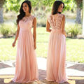 2017 New Estilo Do Casamento Vestidos de Dama de honra Longo Rosa Chiffon Uma Linha Até O Chão Lace Mulheres Elegantes Vestidos de Festa de Casamento