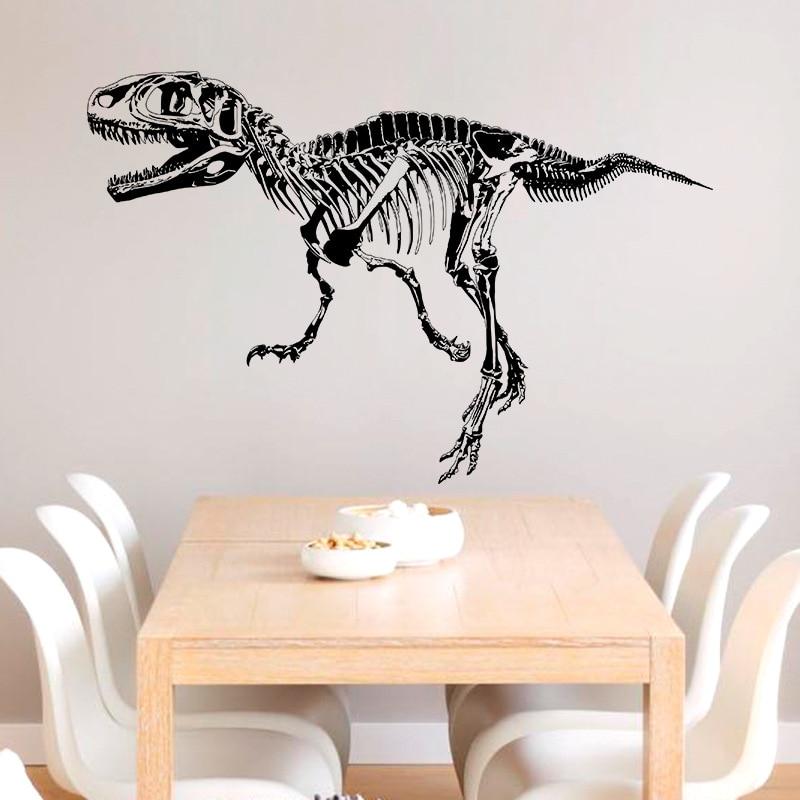 Creative black dinosaur fossil wall sticker living room bedroom study office vinyl jurassic tyrannosaurus wallpaper animals home