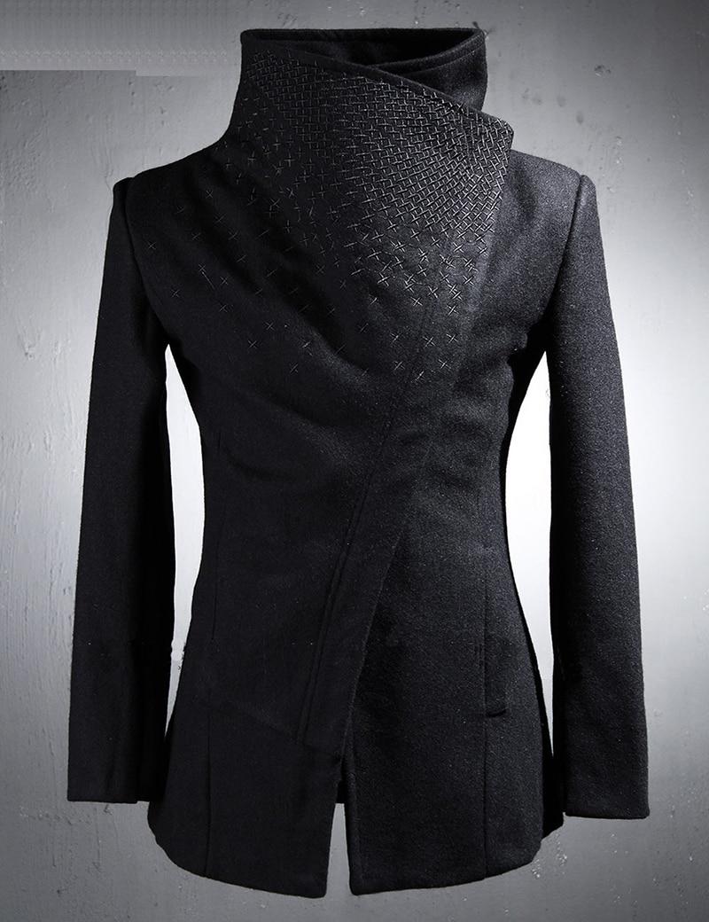 Brand Designer Men's Embroidery Cross Woolen Trench Coats Super Slim Fit Fashion British Style Overcoat Windbreaker