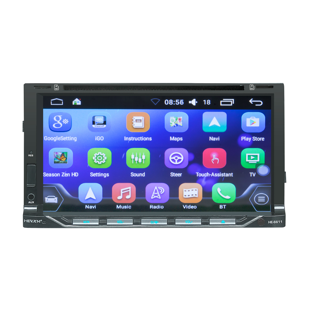 HEVXM 6611 Android 7 inch car DVD navigation player radio multimedia MP5 GPS 2 Din video mp3