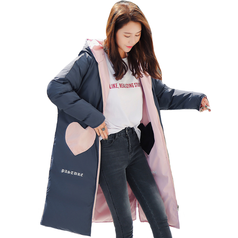 Double Two Sides 2019 New Design WOmen Winter Jacket Hooded With Two Big Pockets Padded Female Coat Outwear Long   Parka