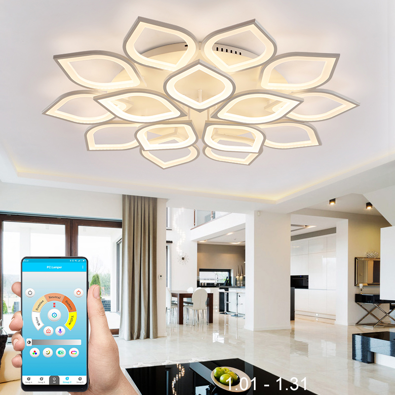 Modern led chandeliers for living room bedroom dining room white acrylic iron body Interior home chandelier