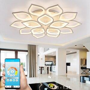 Image 1 - Lustre led moderne, luminaire dintérieur, corps en fer acrylique blanc, luminaire pour salon, chambre à coucher, salle à manger