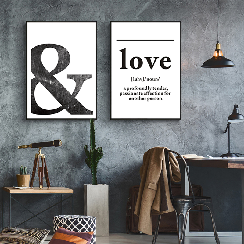 Online Shop Black and White LOVE Definition Wall Art Canvas Painting ...