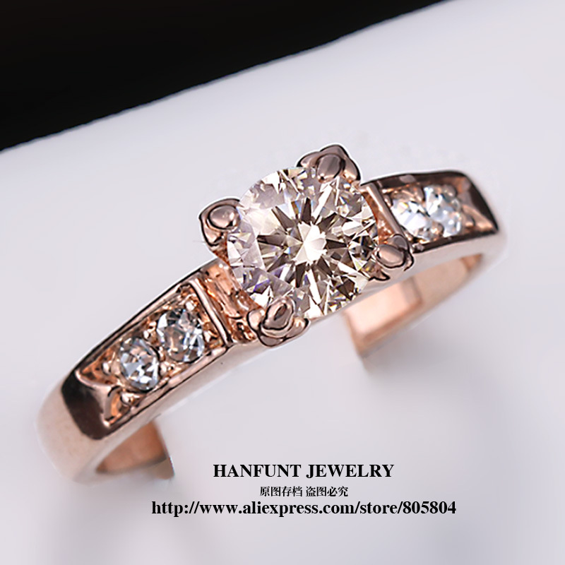 Classical Cubic Zirconia Forever Wedding font b Rings b font Rose Gold Plated Solitaire Rhinestones Lovers
