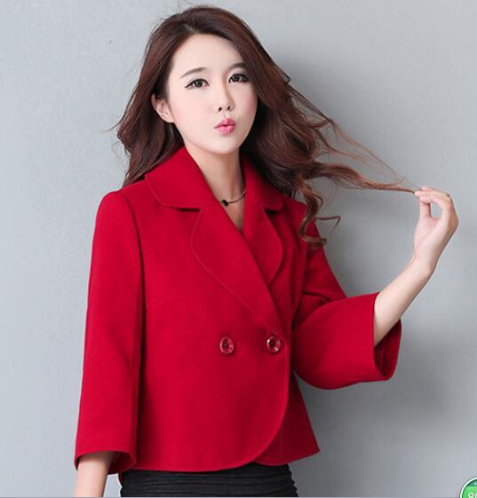2018 новые модные шерстяное пальто короткие однотонные двубортные девять-точка рукава Женщины