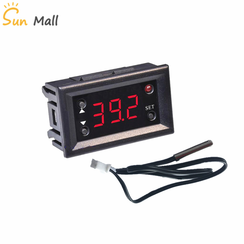 W1218 DC 12V LED Digital Thermostat Temperature Controller Regulator Thermometer Monitor Red/Blue Display for Incubator hf 0 56 red lcd 2 0 4 digital thermostat temperature controller dark blue black 24v
